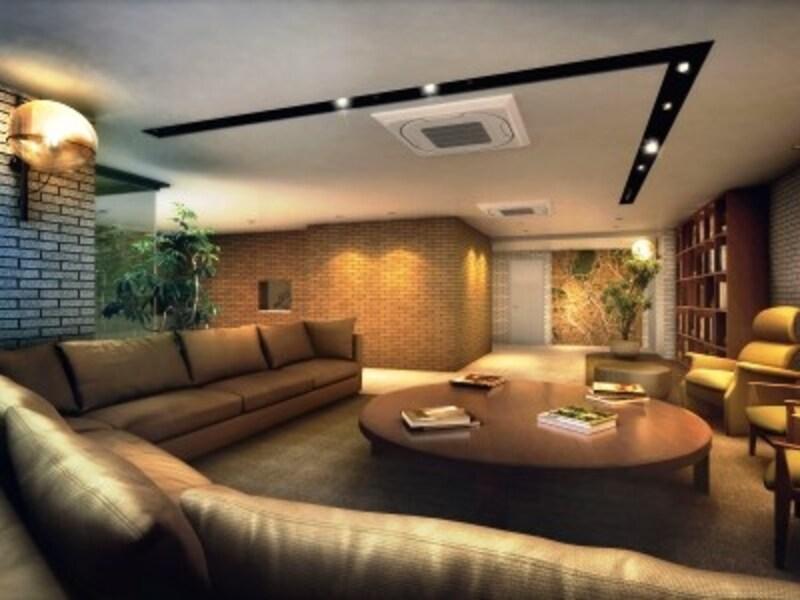中心に大きなテーブルを配して、住人が集いやすい場に「A-standard渋谷桜丘」コモンスペース完成予想CGundefined※図面を基に描き起こしたもので、実際とは異なります