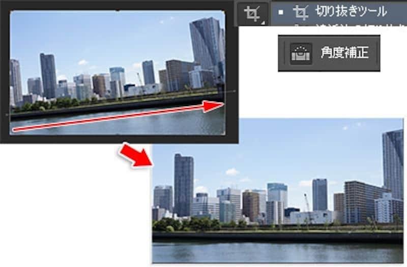 「角度補正」ボタンを有効にして水平ラインをドラッグすると真正面の写真に切り取られる。