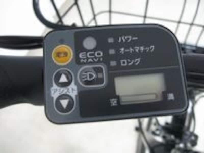ハンドルの液晶スイッチには電池の残量や走行モードを表示するので安心して長距離を走ることができます