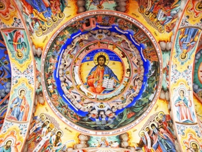 聖母教会のフレスコ画、イエスの像