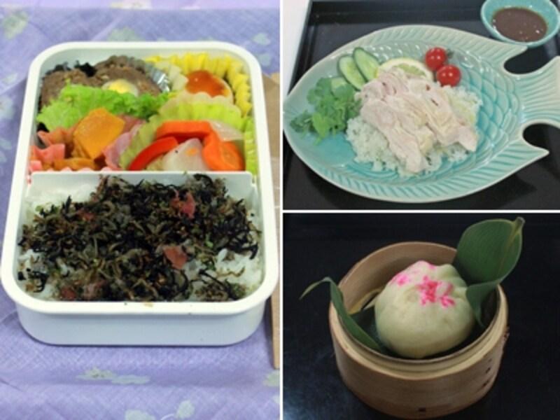 左は最優秀賞となった、栗田登志子さんの「ヘルシーオイシー弁当」。右上は、平井一代さんの「タイ風鶏の炊き込みご飯」。米と鶏肉をヘルシオで一緒に蒸すだけ!右下は、吉田智美さんの「hakatapaotsu~高菜明太まん」。ヘルシオだと、生地の発酵もお任せで簡単!