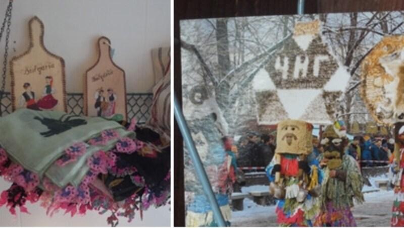 左の布はトルコの刺繍オヤのフリンジ付き。右はブルガリアの奇祭クケリの絵はがき
