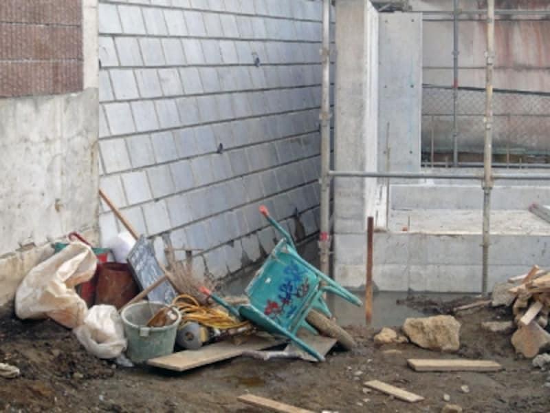 建売住宅における擁壁工事