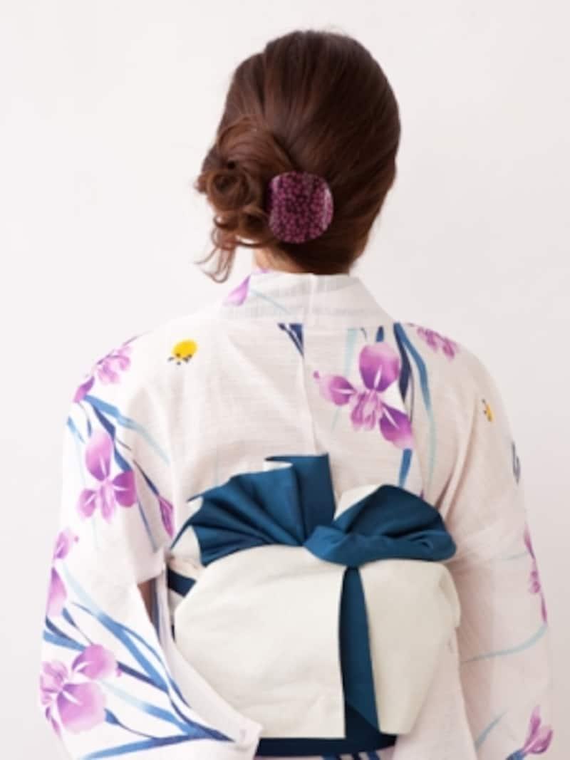 ミディアム浴衣・低めの位置で作る簡単サイドシニヨン