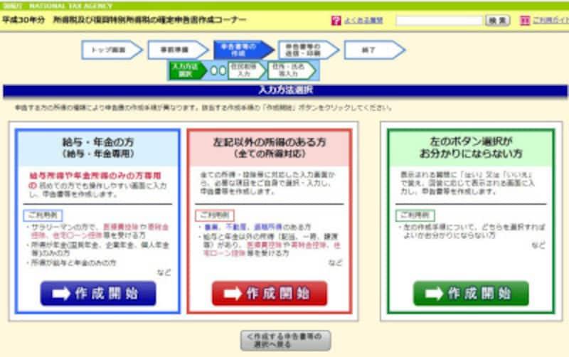 平成30年分 確定申告作成コーナー入力画面 (出典:国税庁ホームページより)