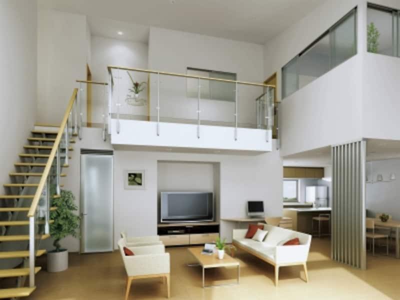 リビングと2階のプライベートルームをつなげるプラン。すっきりとしたデザインは空間に馴染む。[採光ユニット引違い窓(2枚建)]undefinedYKKAPhttp://www.ykkap.co.jp/