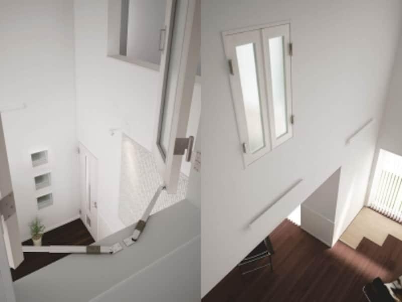 開き戸タイプは空間のポイントにも。ホワイトでまとめてシックに。[室内窓undefinedマドモundefinedハピアベイシス開き戸タイプ]undefinedDAIKENhttps://www.daiken.jp/