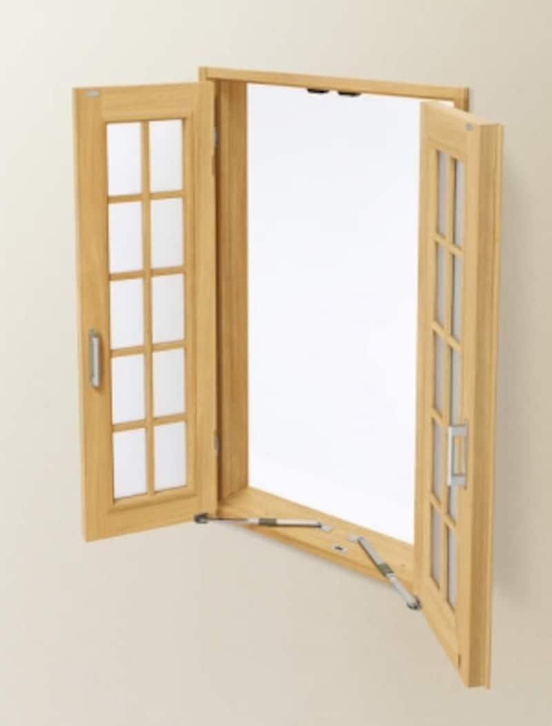 格子を用いたデザインでナチュラルな雰囲気に。[採光ユニット両開き窓※開]undefinedYKKAPhttp://www.ykkap.co.jp/