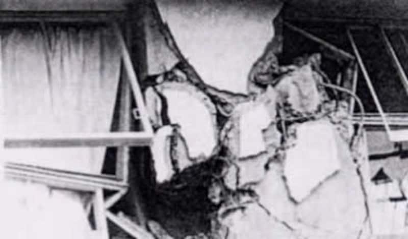 1968年5月の十勝沖地震でせん断破壊された柱 2)