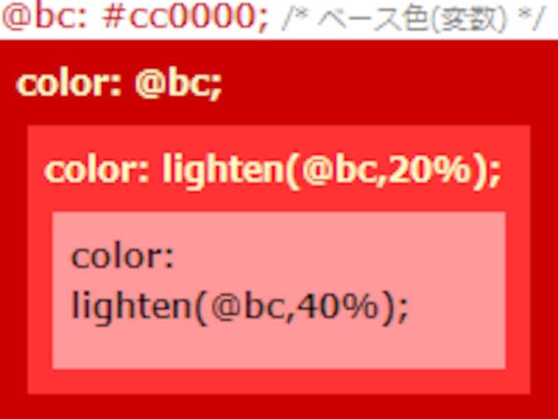 LESSを使うと、色を相対的に指定できる