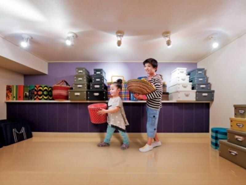 大容量の収納スペースは、モノが増えていく子育て家族に最適!
