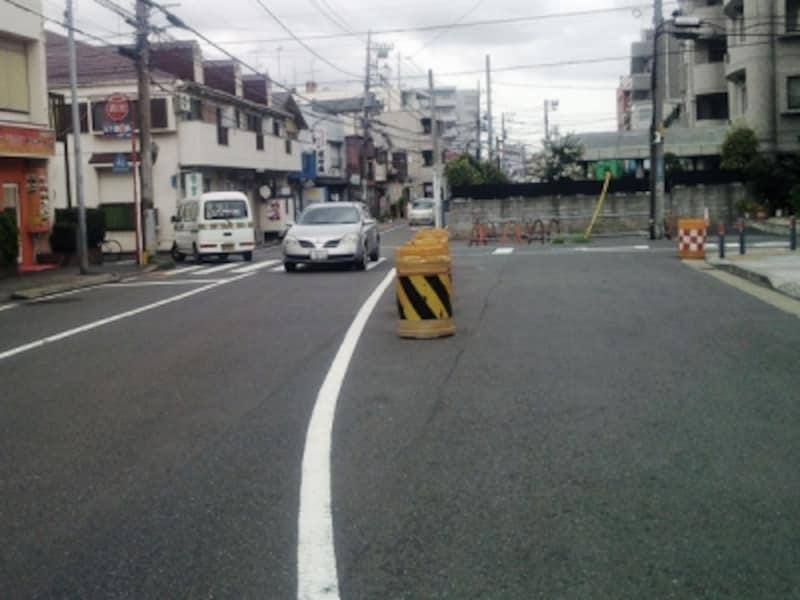 途中まで工事が完了した都市計画道路