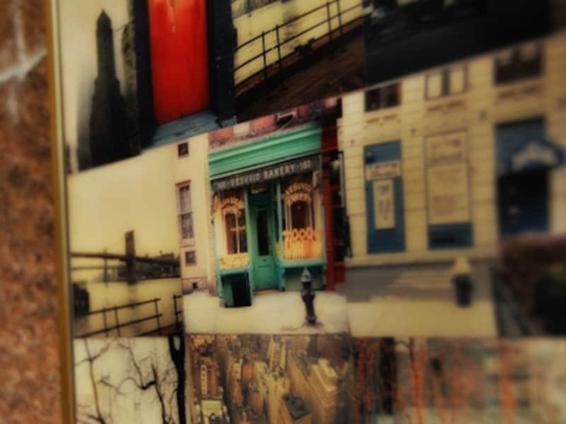 壁の一角に、欧米の街角の古いスナップ写真がありました。