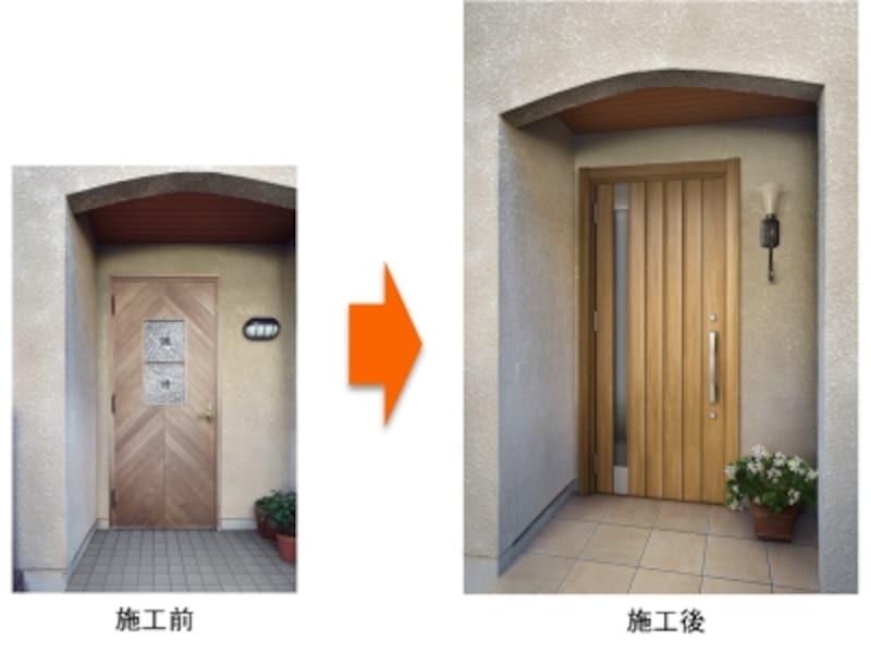 既存のタイル上に専用接着剤を塗り、新しいタイルを張り付けることができる。玄関床タイルの1dayリフォームを実現。[玄関床タイルリフォーム工法]undefinedLIXILundefined