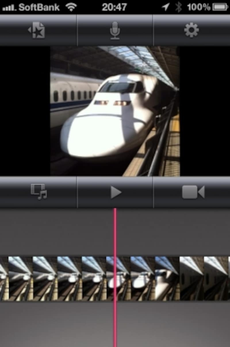 iPhoneのiMovie編集画面