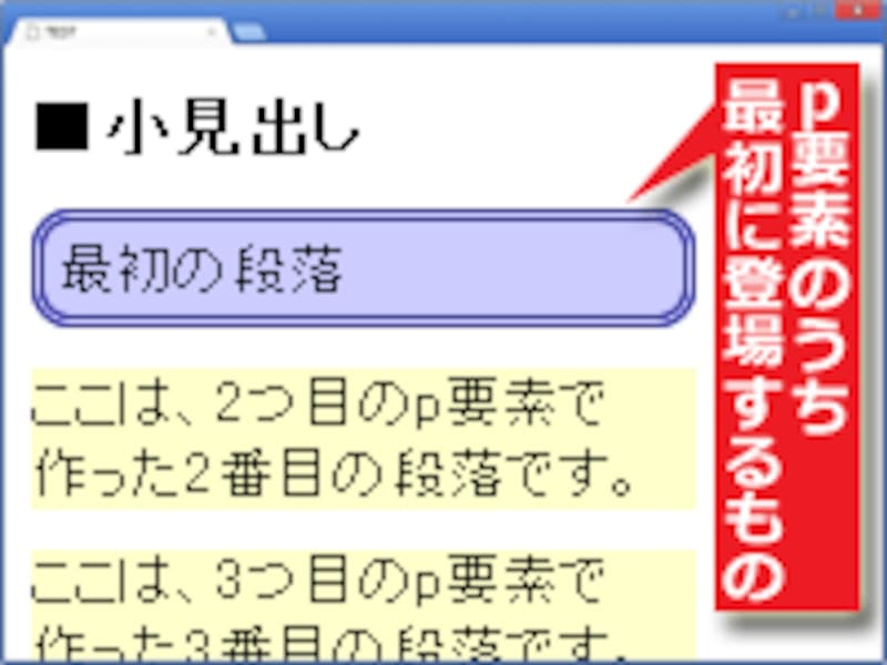 :first-of-type疑似クラスの例