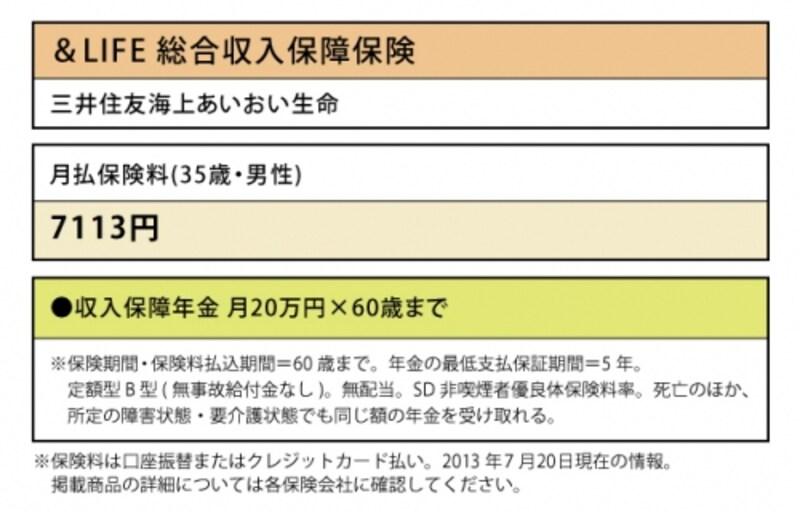 三井住友海上あいおい生命「&LIFE総合収入保障保険」