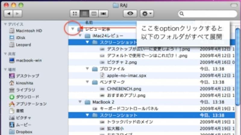 commandキーを押しながら、異なる階層にあるファイルを同時に選択することもできます(クリックで拡大)