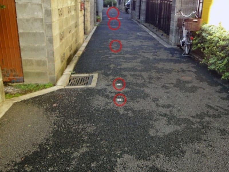 セットバック中心線を示す道路内のポイント