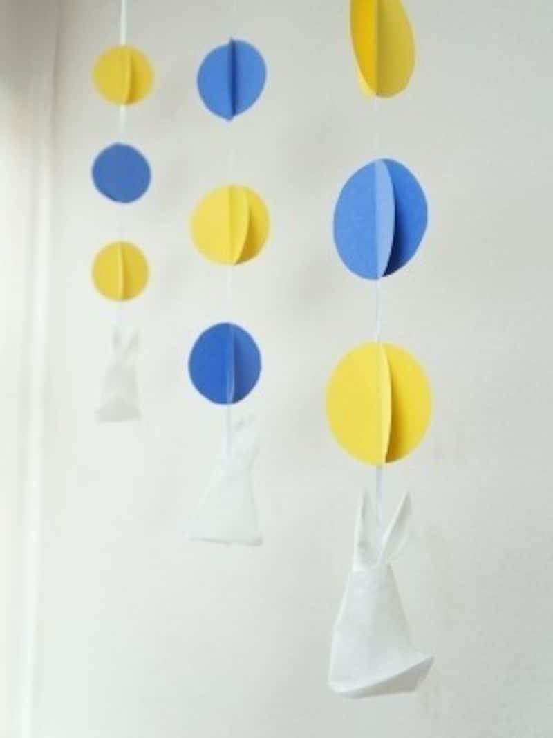 画用紙とペーパーナプキンでお月見工作!月のうさぎの吊るし飾り