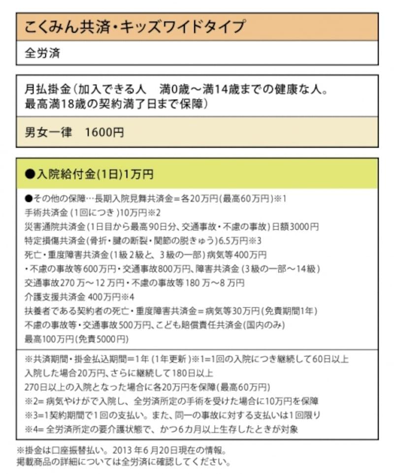 全労災「こくみん共済・キッズワイドタイプ」