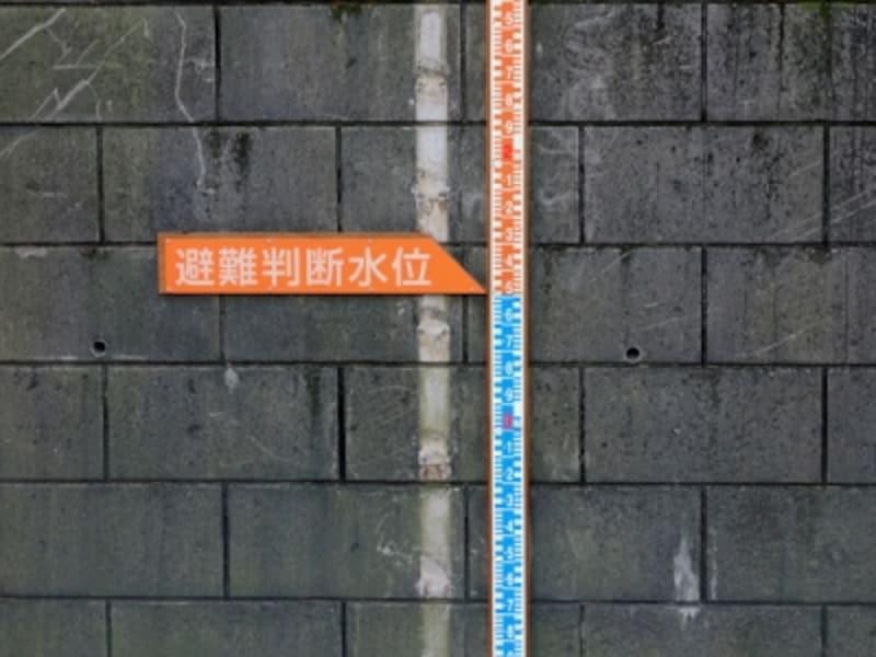 避難判断水位を示す川の目盛板