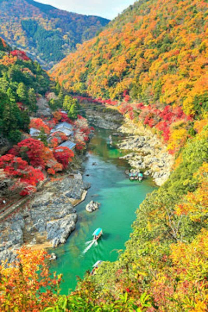 嵐山公園から望む紅葉と保津川下り