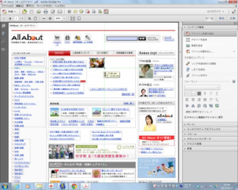 画像のサイズを変えてみました。このように、AcrobatXIでは、PDFファイルの画像を自由に編集することができます