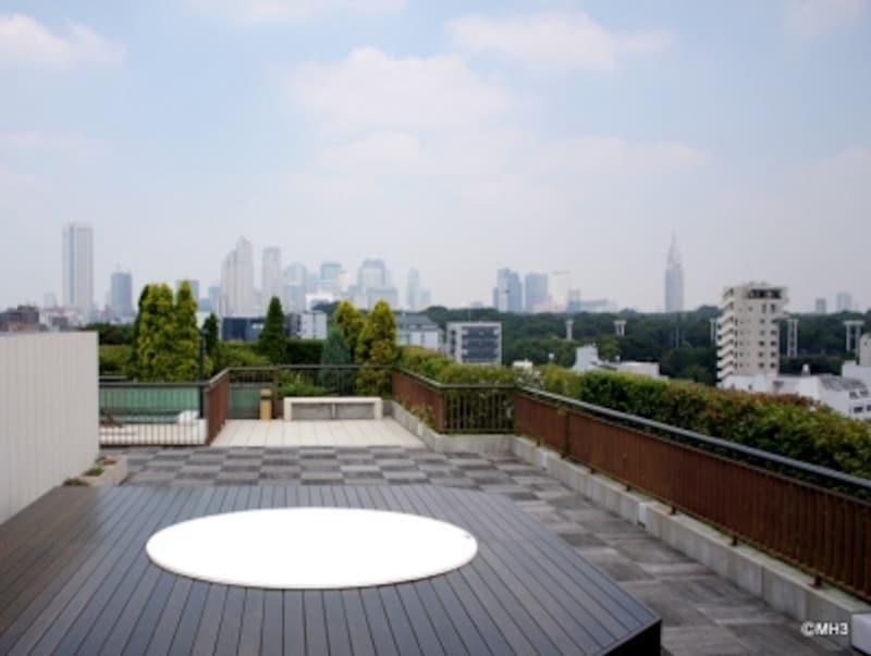 「フォレストテラス松濤」の屋上プールとBBQコーナー。西新宿の超高層ビル群が一望できる。