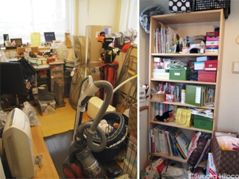 片付ける前の書斎と本棚