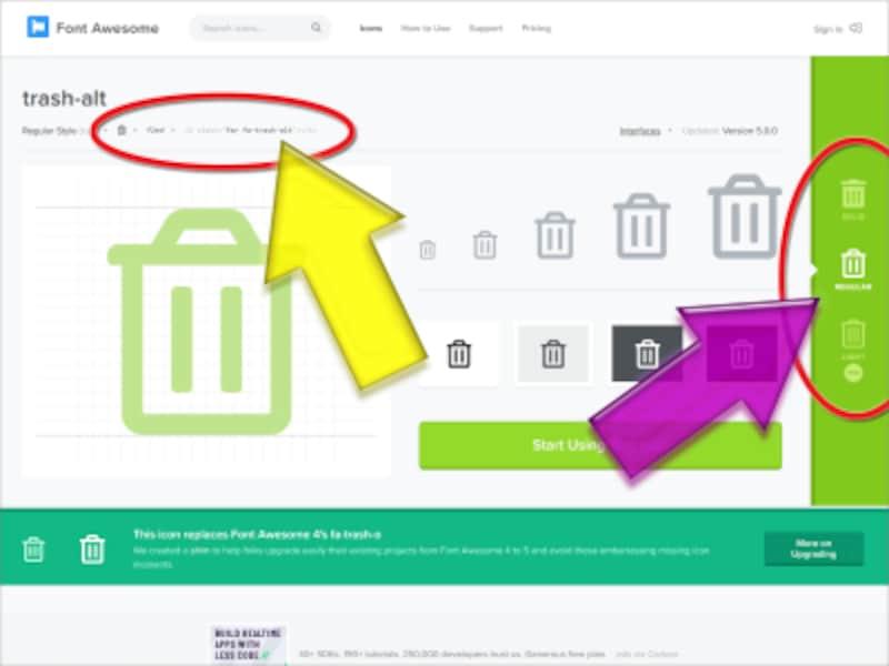 Font Awesome 5のゴミ箱(Trash)アイコンページ:左上に使い方が表示され、右端では書体を選択できる