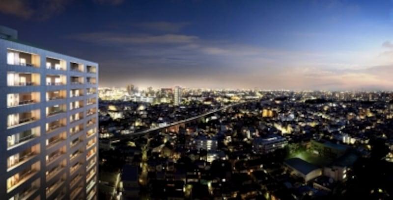 「ル・サンク大崎ウィズタワー外観完成予想図 ※現地隣接の建物(現地より約110m地点)の24階より大井町方向を撮影(2011年8月)したものにCG合成を施したもので実際とは異なります