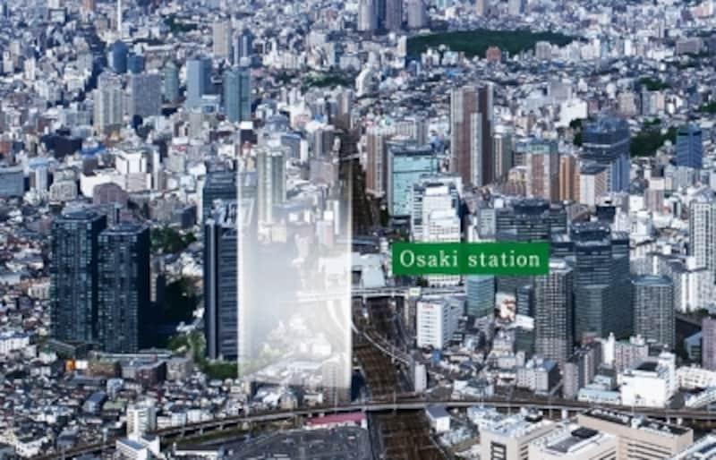 「ル・サンク大崎ウィズタワー」周辺の航空写真undefined※写真は大崎方面を撮影(2011年2月)したものにCG加工を施したものです