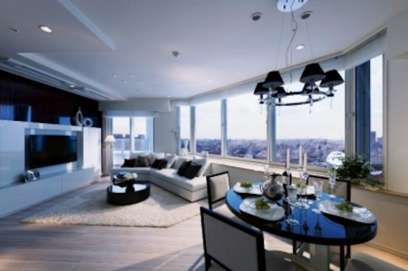 リビング・ダイニングルーム ※モデルルームを2011年12月に撮影したもので、家具・調度品等は価格に含まれません。また現地に隣接する建物(現地より約110mの地点)の24階より大井町方面を撮影した眺望写真を合成したもので実際とは異なります