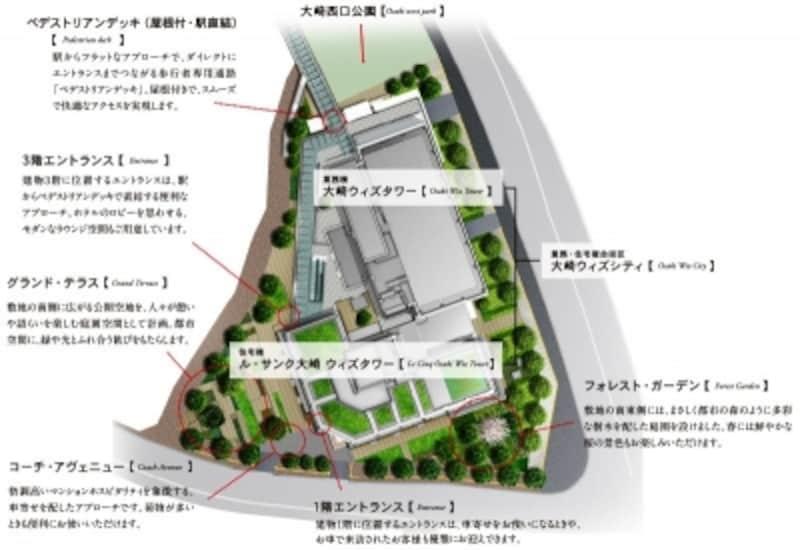 敷地配置図 ※計画段階の図面を基に描き起こしたもので実際とは異なります