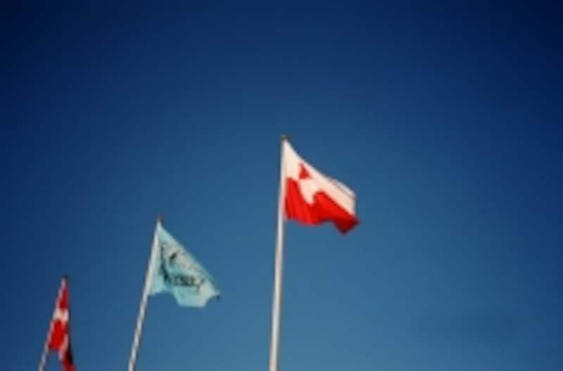はためくグリーンランド旗