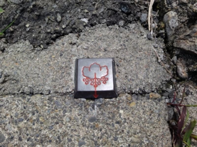 絵柄が施された金属標