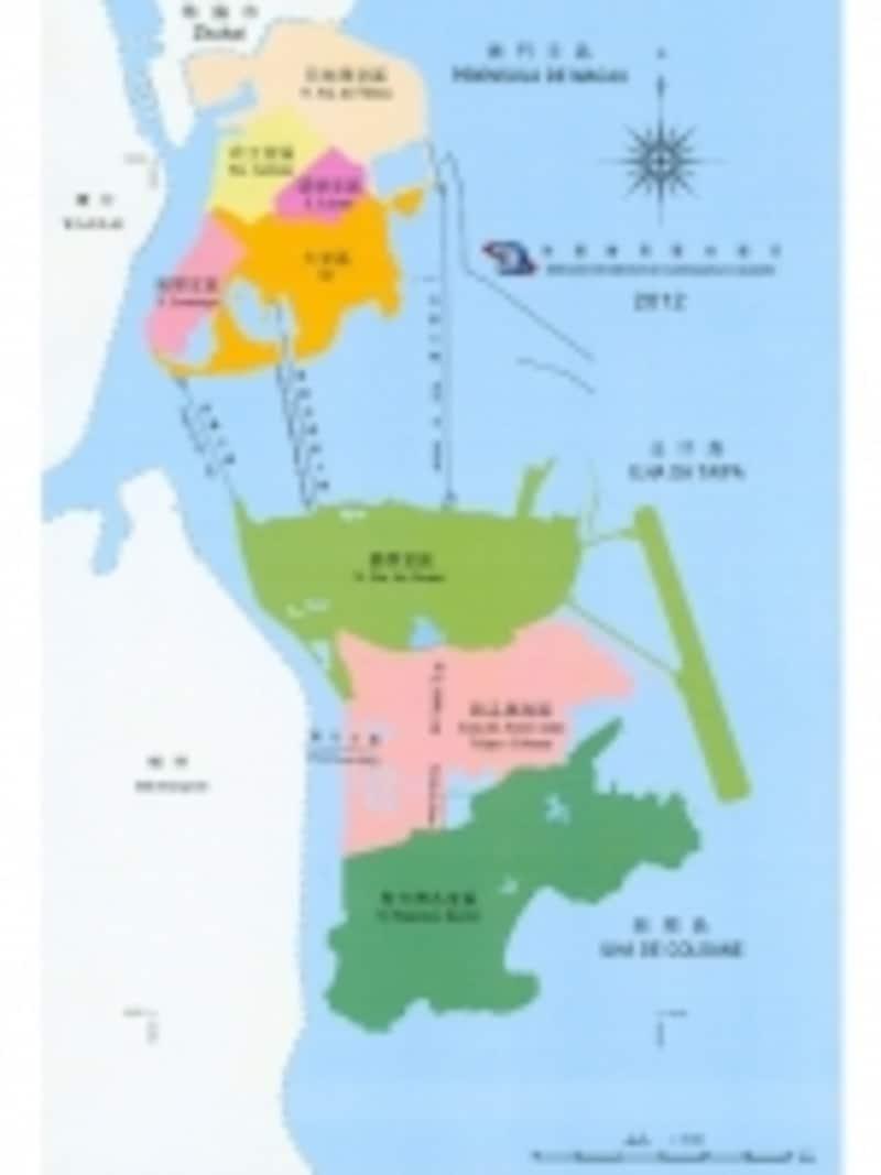 コタイ地区は写真中央下のピンク色の部分。狭いマカオの中ではかなり大きなエリアということがわかる(c)DSCC
