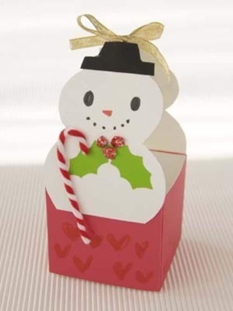 牛乳パックを使ったクリスマス工作でスノーマンのプレゼントボックス