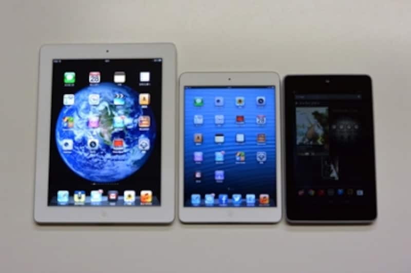 「iPad」「iPadmini」「Nexus7」を並べて見ました。額縁部分が狭いため、7インチの「Nexus7」と比べても、あまり大きさが変わらないように見えます。