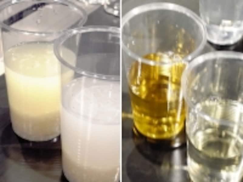 (左)米に整水器で作った水を入れると、瞬時に汚れが浮き出てくる。右はミネラルウォーターを入れたもの。(右)お茶に整水器の水を足しても色が薄まらない
