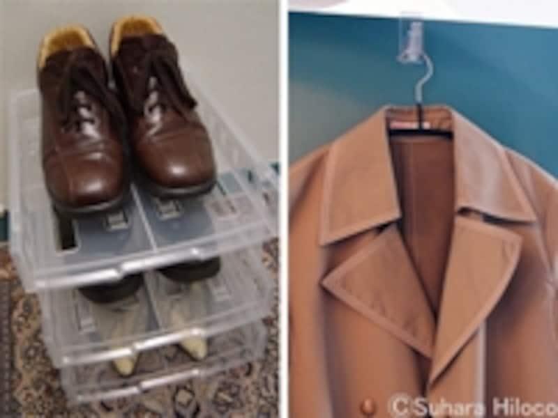100円グッズで靴と服の整理