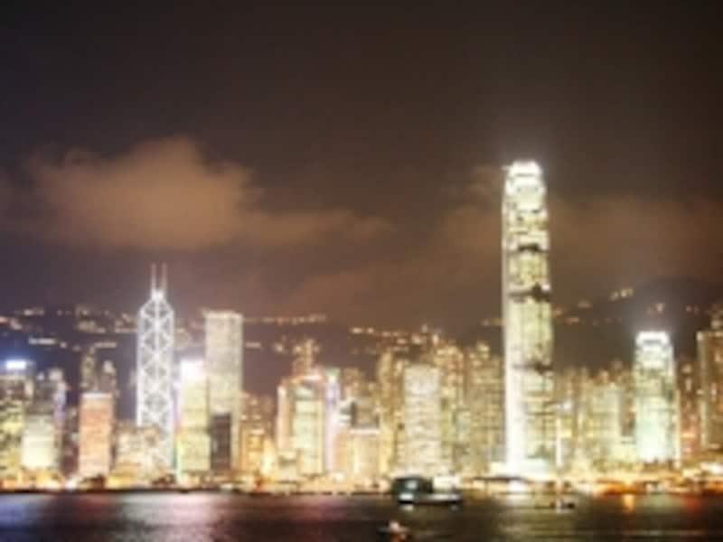 スターフェリーから見る香港島の夜景
