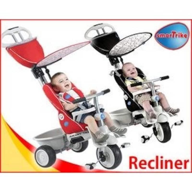 リクライニングするから一人ずわりできない赤ちゃんも乗せられます