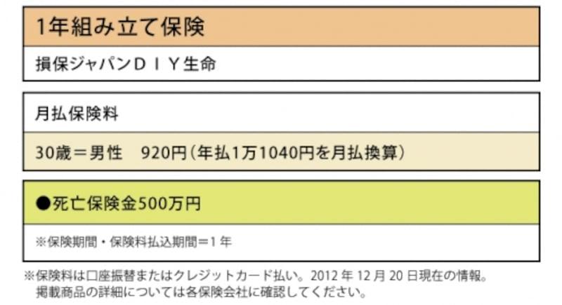 損保ジャパンDIY生命「1年組み立て保険」