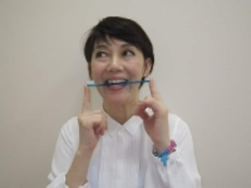 歯ブラシをくわえて