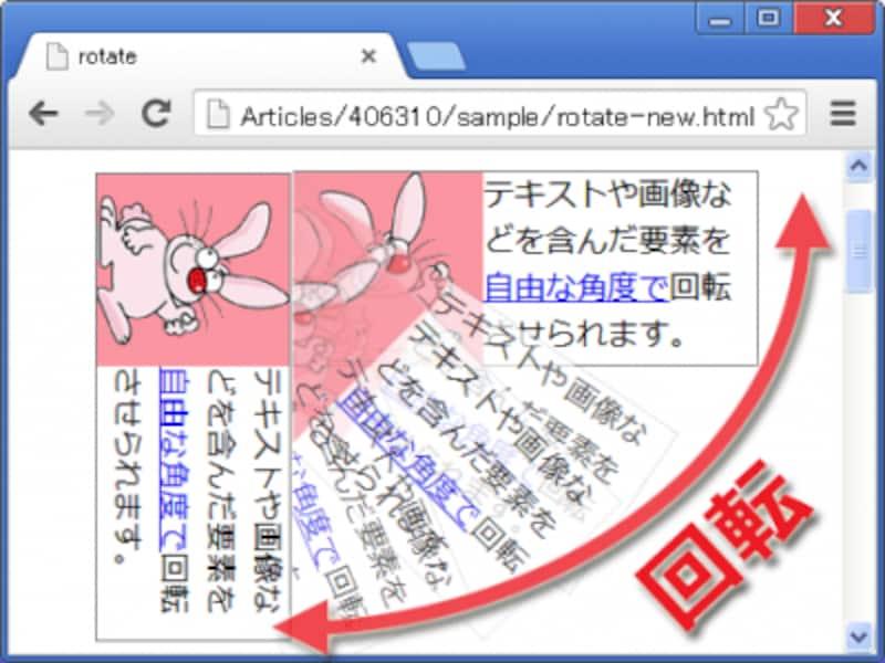 画像でも文字でも、HTMLに書かれた要素を丸ごと自由な角度で回転させられるのが、CSSのtransformプロパティ