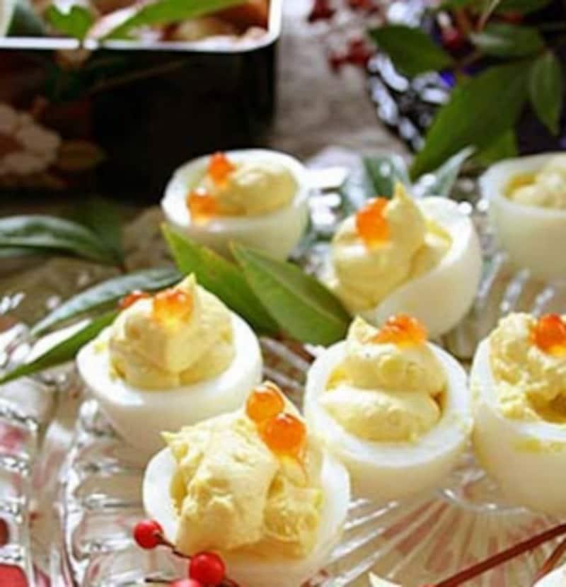 ゆで卵のいくらのせ