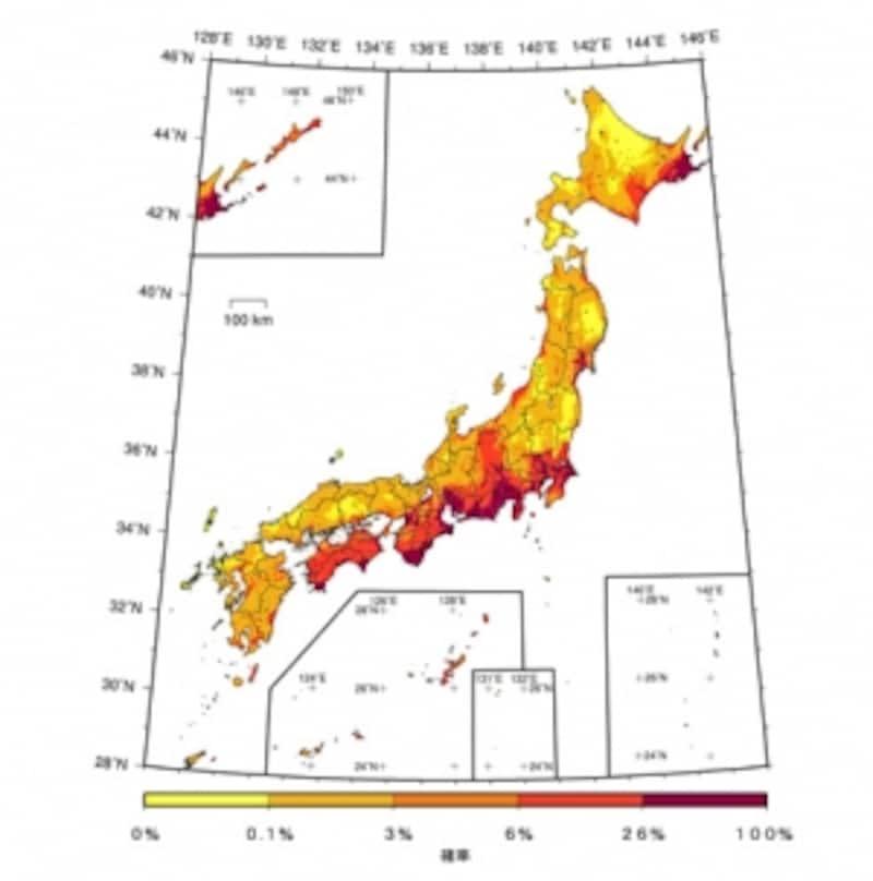 【図2】今後30年間に震度6弱以上の揺れに見舞われる確率(基準日:2010年1月1日/出典:地震調査研究推進本部※1)