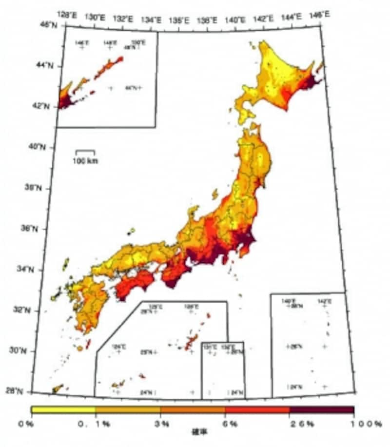 【図1】2012年から30年間に震度6弱以上の揺れに見舞われる確率の分布(発表:平成24年12月21日/出典:地震調査研究推進本部)